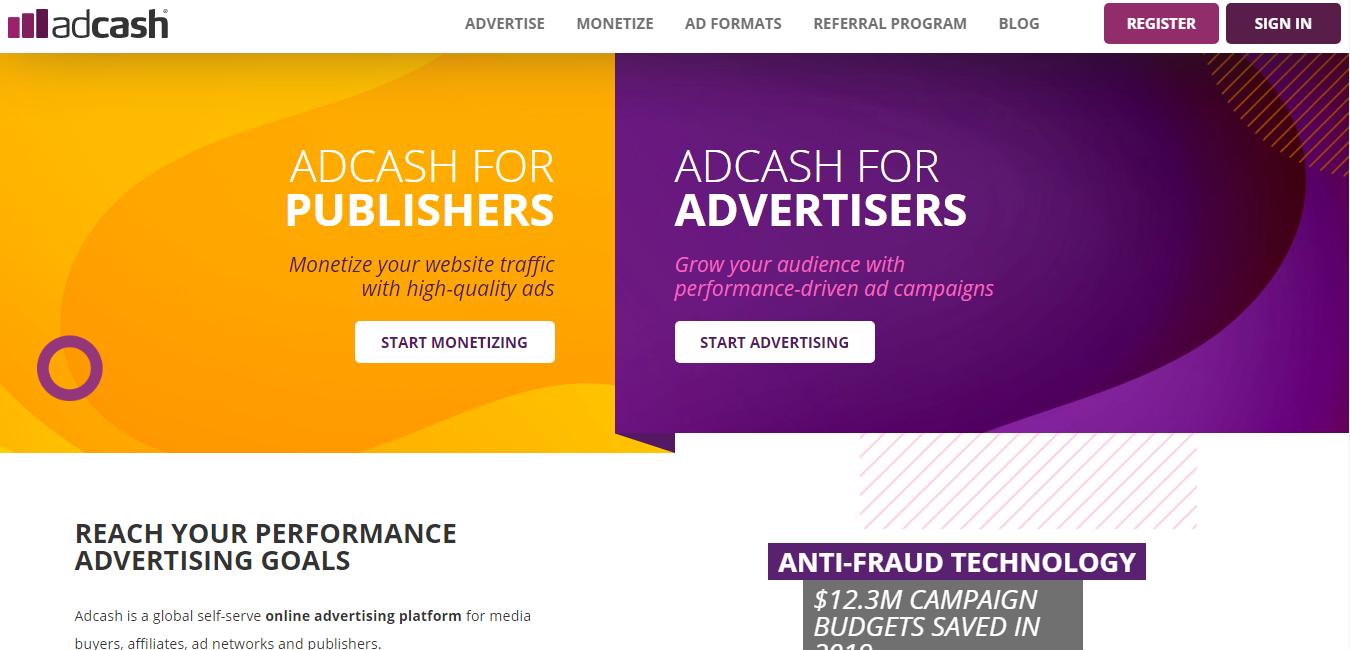 adcash homepage