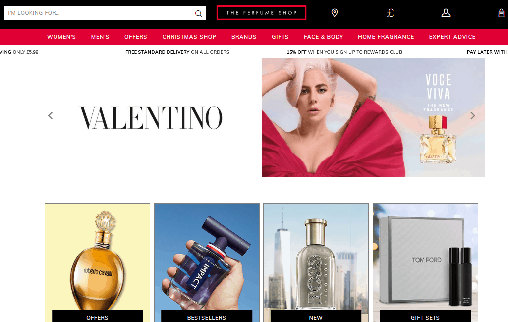 the perfume shop homepage