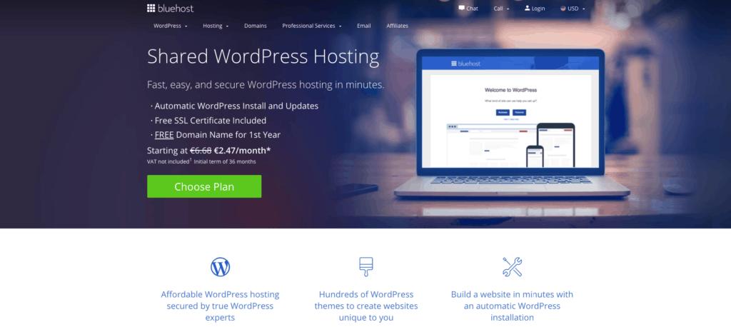 BlueHost WordPress Hosting Homepage