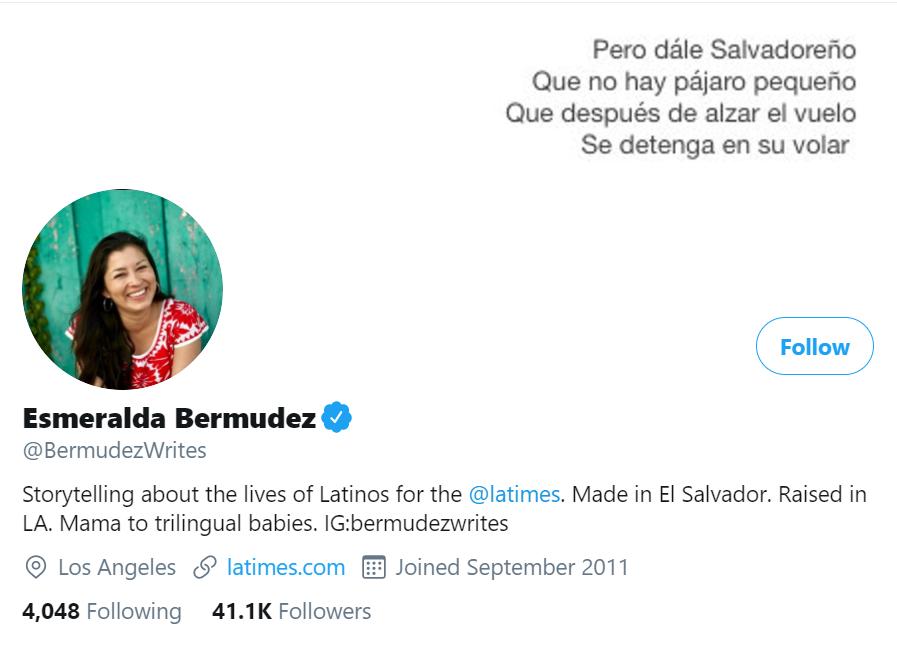 esmeralda bermudez twitter account