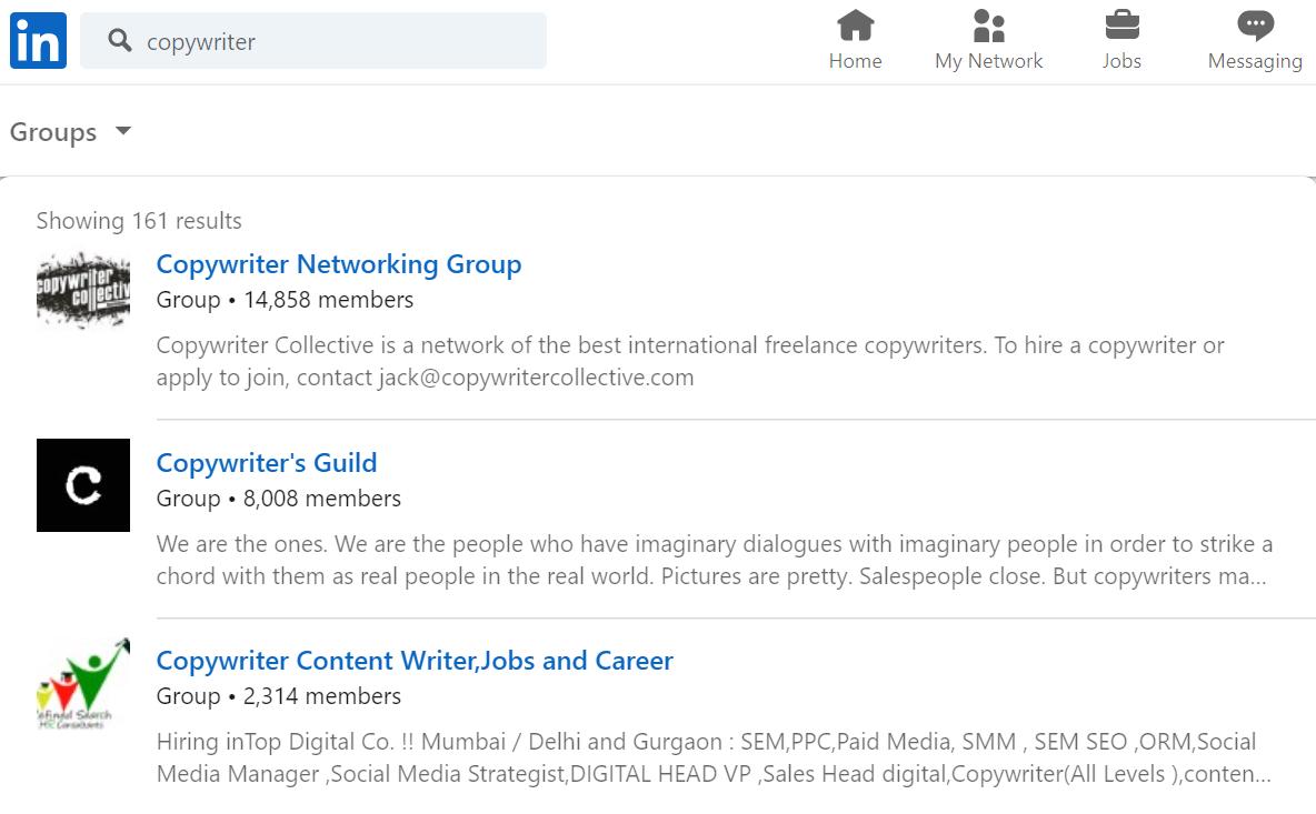 copywriter groups on LinkedIn