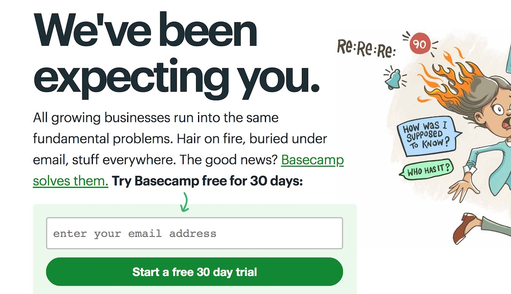 example of copywriting to invite people starting a free trial