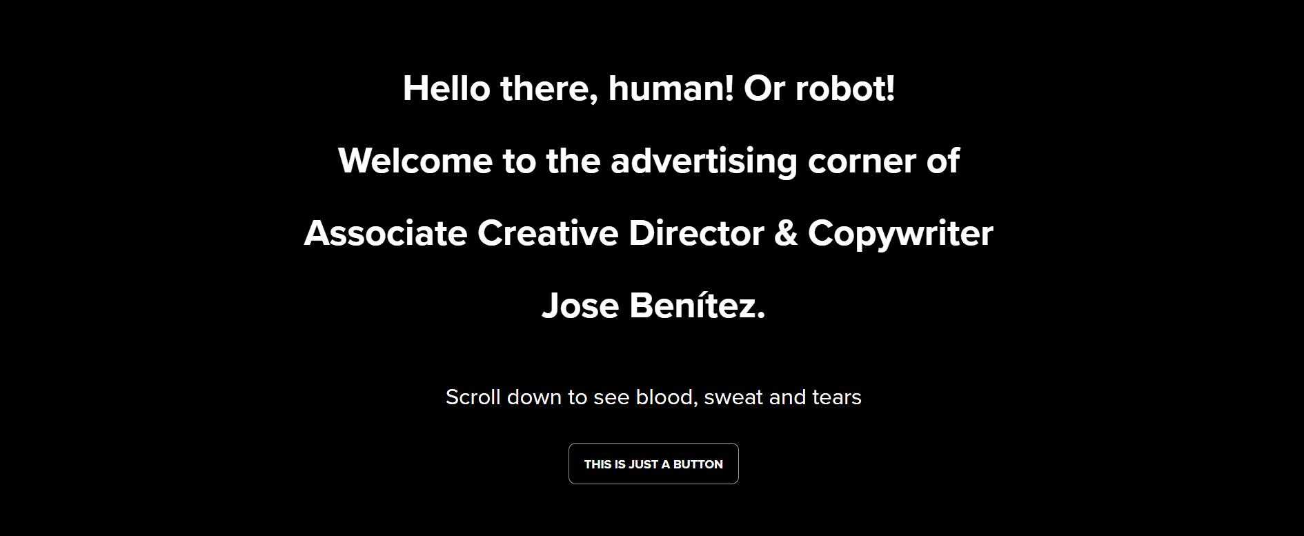 copywriting portfolio website of Jose Benitez
