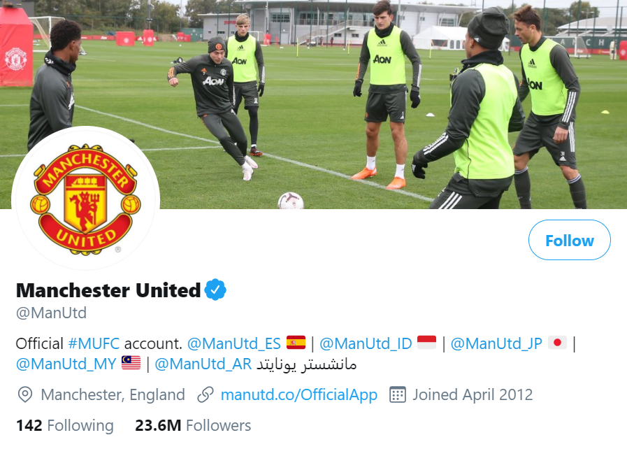 manchester united twitter account
