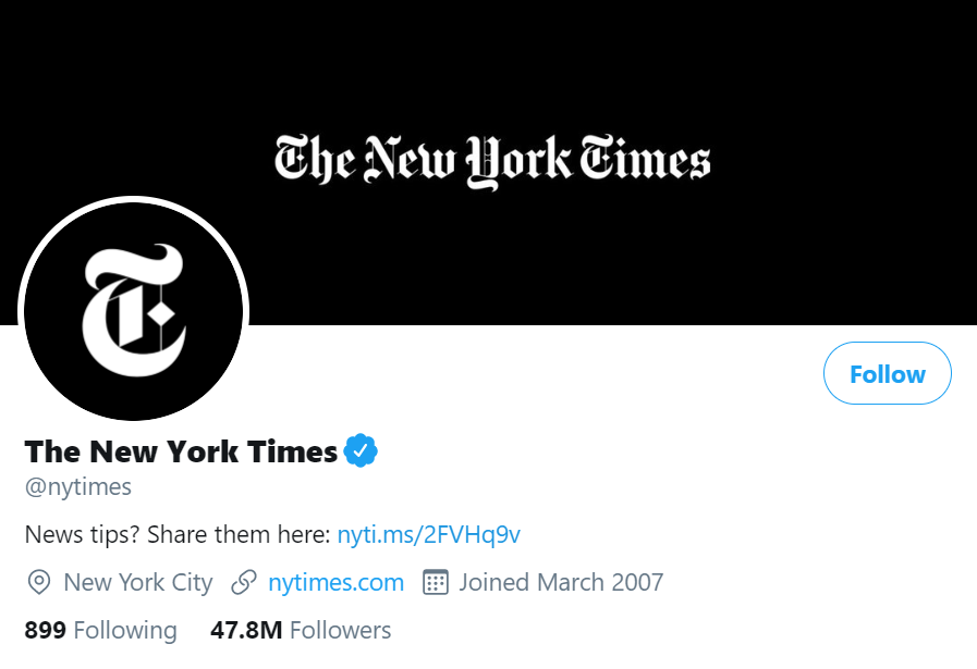 new york times twitter account