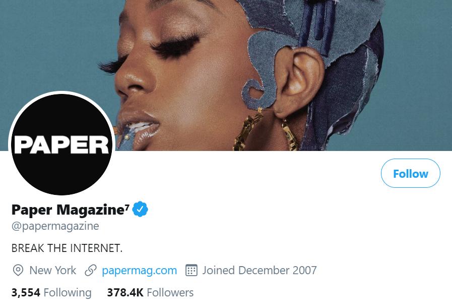 paper magazine twitter account