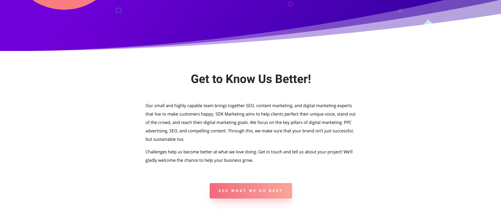 SDKMarketing about us page