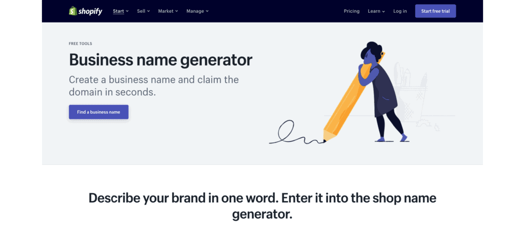 Shopify Business Name Generator Page