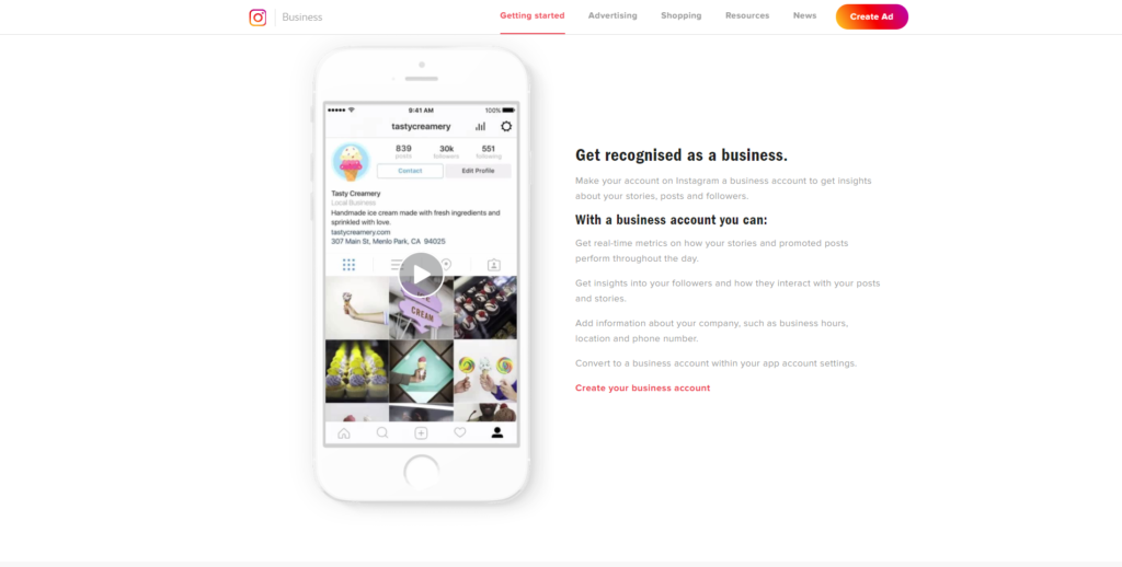 Instagram Business landing page