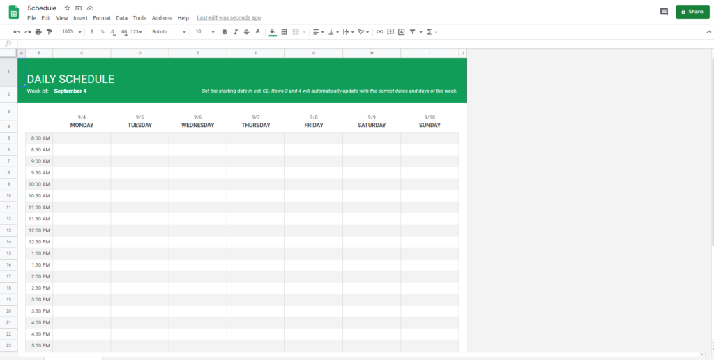 Schedule template by Google Sheets