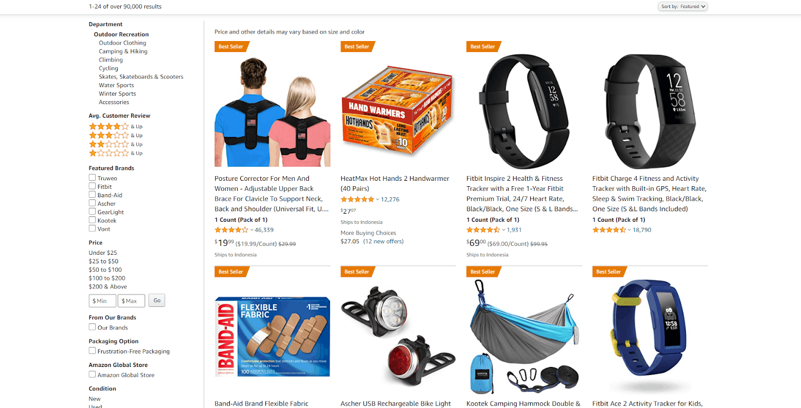 Amazon's product list