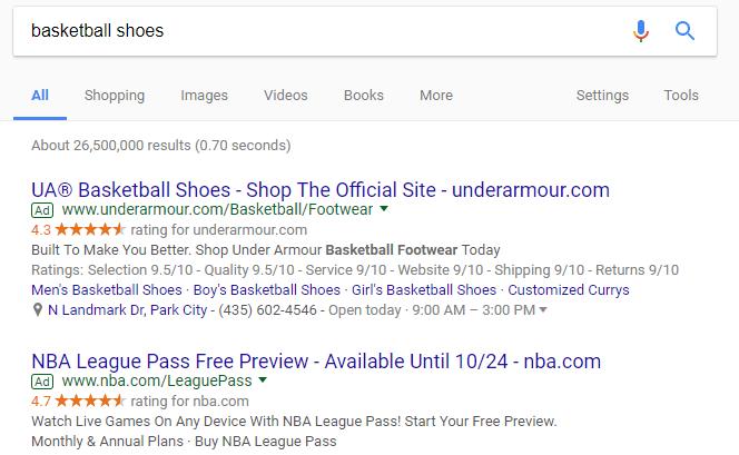 Google SERP highlighting paid ads