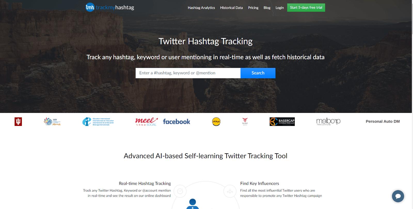 TrackMyHashtag homepage